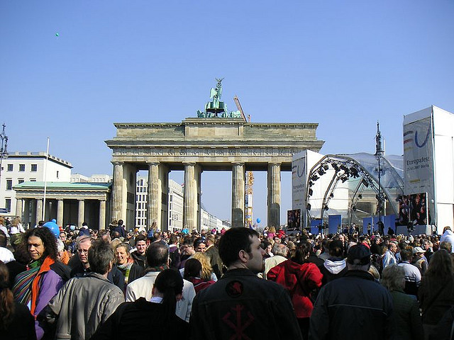 Huge festival in front of Brandenburg Gate.