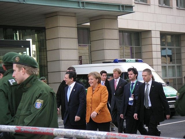 By coincidence we ran into German chancellor Angela Merkel and head of the European Commission, José Manuel Barroso.